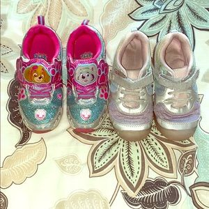 Paw patrol and silver and purple Light up shoes
